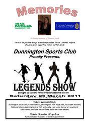 Dunnington Sports Club Memories Legend Tribute Show on Sat 26 Mar 11